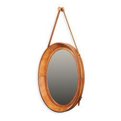 Kathy Kuo Home - Waddell Rustic Lodge Brown Leather Oval Hanging Mirror - A reflection of rustic charm in this modern mirror makes it twice as stylish. The hand-tooled, leather-framed looking glass is sleek enough for a bathroom but handsome enough for a study, library or entryway.