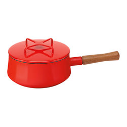 Dansk - Dansk Kobenstyle 2qt Sauce Pan Chili Red - It is time to replace your old cheaply made saucepan with this ingenious beauty. You won't burn your food, hand or countertop thanks to the sensible, enameled steel construction, the stylish wooden handle and the nifty top-cum-trivet.
