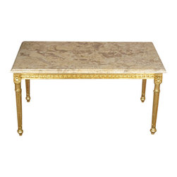 MBW Furniture - Solid Wood Small Gold Coffee Table w/ Marbletop - This is a gorgeous solid wood small gold coffee table. It features a gorgeous removable variegated marble top surface that has a traditional beveled edge, and it has gilded wood frame beautifully embellished with fancy fretwork, and its legs have elegant fluted accents. It is a beautiful piece that will make a lovely addition to any room.