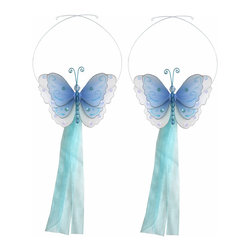 "Bugs-n-Blooms - Butterfly Tie Backs Blue Multi-Layered Butterflies Tieback Pair Set Decorations - Window Curtains Holder Holders Tie Backs to Decorate for a Baby Nursery Bedroom, Girls Room Wall Decor - 5""W x 4""H Pink & White Multi-Layered Curtain Tieback Set Butterfly 2pc Pair - Beautiful window curtains tie backs for kids room decor, baby decoration, childrens decorations. Ideal for Baby Nursery Kids Bedroom Girls Room.  This gorgeous 3D butterfly tieback set is embellished with sequins, glitter and has a beaded body. This pretty butterfly decoration is made with a soft bendable wire frame & have color match trails of organza ribbons. Has 2 adjustable wires to wrap around the curtains; or simply remove & add your own ribbon for a personal & custom look. Visit our store for more great items. Additional styles are available in various colors, please see store for details. Please visit our store on 'How To Hang' for tips and suggestions. Please note: Sizes are approximate and are handmade and variances may occur. Price is for one pair (2 piece)"
