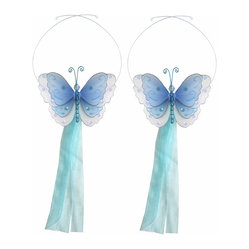 White Multi-Layered Curtain Tieback Set Butterfly 2pc Pair - Beautiful ...