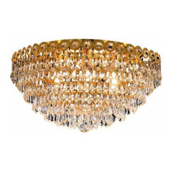 "PWG Lighting / Lighting By Pecaso - Agathe 6-Light 18"" Crystal Flush Mount 1617F18G-SS - This classical Agathe Crystal Chandelier with flowing symmetrical shape and nearly invisible frame offers a striking surge of brilliant light. Sconces and ceiling mounts enhance your room decor."