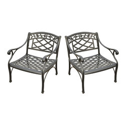 Crosley - Sedona 2-Piece Cast Aluminum Outdoor Conversation Seating Set - A good conversation requires the proper setting. Get it right with the Crosley Sedona 3 Piece Cast Aluminum Outdoor Conversation Set. This comfortable set is perfect for chatting with the family or catching up with old friends. Durably constructed of aluminum and completed with a UV-resistant, non-toxic powder-coated finish.
