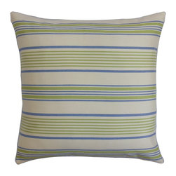 "The Pillow Collection - Orenda Stripes Outdoor Pillow Blue Green 18"" x 18"" - The cold season is almost over, and it's time to bask in the sun. Bring out this throw pillow in your patio, cabana or poolside and create a gorgeous decor style. The stripe pattern on this 18"" adds a contemporary twist plus it comes with soothing colors like green, blue and white. This square pillow is perfect for outdoor use. Blend with other outdoor accent pillows for extra dimension and comfort. Hidden zipper closure for easy cover removal.  Knife edge finish on all four sides.  Reversible pillow with the same fabric on the back side.  Spot cleaning suggested."