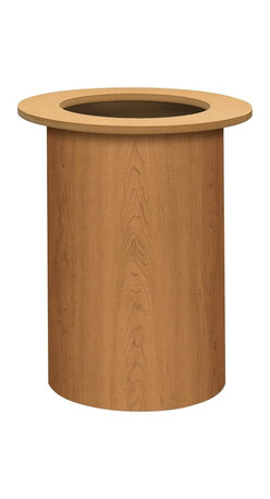HON - HON BLCY02 Laminate Cylinder Conference Table Base - Harvest - L Series, harvest color 18 diameter Laminate Cylinder Base for 48 Round, 42 Round, 120 Long or 96 Long Laminate Tops. Base includes adjustable leveling glides. Requires that you add 150 lb. of sand or other ballast for stability. Ballast permits smaller diameter base resulting in added kneespace. Base attaches to top with self-tapping screws. No drilling is required. Base and top are sold separately, so you need to order both. Each meets or exceeds ANSI/BIFMA and ISTA performance standards.
