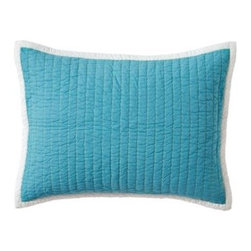 Serena & Lily - Turquoise Cabin Quilt Standard Sham - The best of the basics, this is the perfect warm-weather layer. Made of soft, stonewashed cotton, the running contrast stitch in Lime gives it just the right amount of texture. Dark Turquoise on one side and Light Turquoise on the reverse, it's finished with a solid white binding.