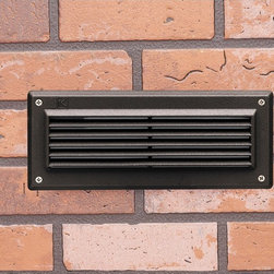 "Kichler - Arts and Crafts - Mission Kichler Landscape LED 9 1/2"" Wide Louvered Brick Light - This classic louvered LED brick light in textured architectural bronze finish is designed to be integrated into an exterior wall during construction. The 2700K color temperature LED array casts a wonderful warm white light that will illuminate walkways porches poolside lounge areas and much more. A beautiful and functional outdoor LED fixture from Kichler landscape lighting. 12-volt landscaping LED brick light. Textured architectural bronze finish. Metal construction. UL-listed for wet locations. Includes two 1 watt integrated LED arrays (2 watts total). 2700K color temperature warm white light. Light output is comparable to a 20 watt incandescent bulb. 9 1/2"" wide. 4"" deep. 4"" high.   12-volt landscaping LED brick light.  Textured architectural bronze finish.  Metal construction.  UL-listed for wet locations.  Includes two 1 watt integrated LED arrays (2 watts total).  2700K color temperature warm white light.  Light output is comparable to a 20 watt incandescent bulb.  9 1/2"" wide.  4"" deep.  4"" high."