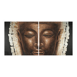Safavieh - Buddah 2 Pc Painting - Achieve an instant state of chic with this contemporary two-dimensional Buddha painting on canvas on wood. Heavy brushstrokes create dramatic texture perfect for any cosmopolitan lifestyle. Set of 2.