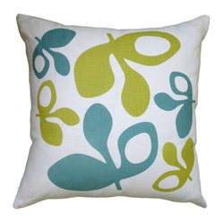 Hand Printed Linen Pillow - Pods, Blue/Yellow, 16 x 16