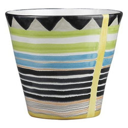 Banda Planter - Hand-painted wedges at the rim and beachy stripes all around seep softly into the pale background of a terra cotta classic with a contemporary, artisan feel. Indoors or out, a colorful display for cactus, ferns, or flowers.Terra cottaIncludes drainage holeMade in Portugal