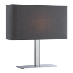 Lite Source - Lite Source Levon Transitional Table Lamp XSL-KLB/C79712 - From the Levon Collection, this Lite Source table lamp is sleek and modern. This transitional table lamp features a slim base and profile, all finished in a stunning polished Chrome hue. The black fabric diffuser features an elongated body and rectangular shape for added contemporary appeal.
