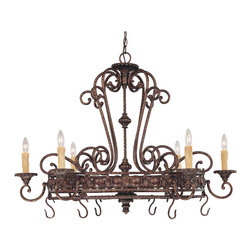 Savoy House - Savoy House 1P-50039-6-56 Rowen 6 Light Pot Rack - Rowen is a beautiful collection from Savoy House that has graceful scrolls, a rich New Tortoise Shell finish and Cream Excavated glass.