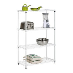 4-Tier White Shelving Unit - 250 Lbs - Honey-Can-Do SHF-01907 4-Tier Steel Urban Adjustable Storage Shelving Unit, White. Create visible, accessible storage space instantly with Honey-Can-Do industrial shelving systems. Clean white finish and steel frame make this unit the perfect blend of style and functionality. Durable enough for the home, garage, pantry, or commercial kitchen; this commercial grade shelving is capable of withstanding up to 250lbs per shelf. Adjustable shelves allow you to change the configuration as your storage needs evolve. Combine multiple units to create a customized storage wall. The no-tool assembly allows you to construct in minutes a shelving unit that will last for years.
