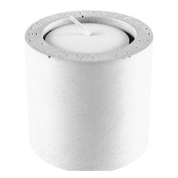 Zeitgeist Factory - Votive, White - Heat up your night with this cool votive holder. Handmade from recycled stone dust and finished with cork, create your own indoor fire pit with several or as a meditative retreat with one.