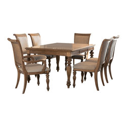 American Drew - American Drew Grand Isle 8 Piece Leg Dining Room Set in Amber - The Grand Isle Collection is a lifestyle bedroom and dining room group that offers high end, yet casual up to date tropical style with multiple options for any room of the home; creating a collection that is perfect for many homes, vacation homes or even smaller size vacation condos. The amber finish has a warm overtone with subtle dark burnished accents that make the natural soft distressing show through. Design elements used in Grand Isle include carved and shaped pilasters, woven drawer fronts and a louver motif; all adding a higher end look to the collection. This collection is sure to add a relaxed, yet sophisticated style to most homes and offers plenty of options to help with storage and organization.