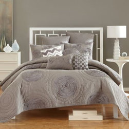 Nostalgia Home - Nostalgia Home Cody Quilt - The Cody quilt brings creative flair to your bedroom with a silk ribbon circle motif on a luxuriously textured quilted backdrop.
