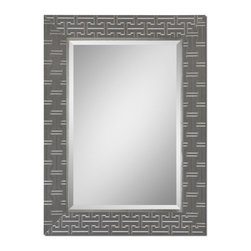 """Uttermost - Cacema Mirror, Textured Wrap Over Wood With An Ash Gray Finish And Metallic Silv - Frame Features A Textured Wrap Over Wood With An Ash Gray Finish And Metallic Silver Details. Mirror Has A Generous 1 1/4"""" Bevel. May Be Hung Either Horizontal Or Vertical."""