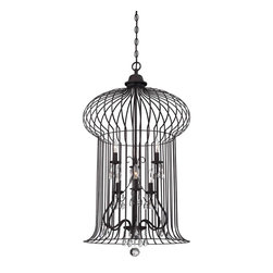 Savoy House - Abagail 6 Light Foyer Lantern - A Vintage Birdcage Has Modern Sophistication With The Addition Of Sparkling Crystals In This Savoy House Boutique Lantern.