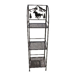 Zeckos - Brown Metal 3 Tier Western Horse Linen Shelf - This wonderful wrought iron Western Horse 3 tier linen shelf is a perfect accessory to add to your bathroom or patio. The shelf measures 48 inches tall, 13 1/4 inches wide and 13 1/4 inches deep, and folds flat for storage when not in use. It has a brown enamel finish to match most color patterns. It's great for storing extra towels, hair dryers, bath supplies or even knickknacks. It makes a great gift.