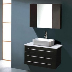 "Virtu USA Ivy 32-in. Wall Mount Black Single Bathroom Vanity Set UM-3057 - Make your bathroom into a comfortable haven with the Virtu Ivy Single Sink Wall Mount Black Vanity with Mirror. It couldn't be simpler to create a clean modern look in any bathroom - this set includes everything you need for the entire vanity area and is easy enough to install in an afternoon.Designed to mount directly to the wall studs for a """"floating"""" effect this vanity set is great for small bathrooms. The base cabinet is constructed from durable rubberwood using a sturdy framing technique then finished with two coats of rich black and a moisture-resistant clear-coat. This helps seal out moisture and humidity meaning the wood won't crack or warp even in the high-moisture environment of the bathroom. The cabinet contains two spacious drawers for storage of necessities.The cabinet is topped with a white countertop complete with a deep block-style basin sink. The sink is what gives this piece its true contemporary look: it's rectangular in shape and extra-deep for a sense of luxury. Also included is an elegant vertical faucet with pop-up back-mounted drain system made from solid brass and finished in bright chrome. Finally a rectangular wall mirror with built-in storage cabinet is included and can be mounted right above the sink for the perfect finishing touch.All required installation hardware is included with this set.Detailed Dimensions:Main cabinet: 31.5W x 19.7D x 18.9H inchesCounter top: 31.5W x 0.7D x 19.7H inchesSink basin: 18.5W x 5.1D x 14.6H inchesMirror wall cabinet: 31.5W x 5.9D x 23.6H inches"