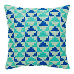 Rhythm in Sky Decorative Pillow - Get out of your daily routine and reconnect with the rhythm of life with these cotton decorative pillows. With an indigo and aqua geometric pattern, their relaxed feel will fill your home with a spirited beat. Dry clean only, each pillow comes with a synthetic down insert.