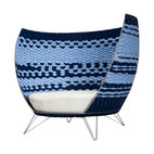 ecofirstart - Big Basket Chair - Here's a fresh catch. It's an oversized lounge chair for two, with a modern frame crafted of metal and strips of soft blue felt woven to create a basket-wave pattern inside and out. You'll be swimming in style with this basket chair in your loft, great room or beach house.