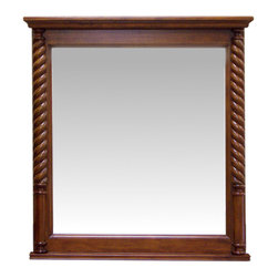 None - Light Walnut Rope Pillar 33-inch Wall Mirror - Two rope-style pillars make their way up this light walnut finished mirror. This 33-inch mirror can be hung as a portrait orientation over your bathroom sink,entryway,or bedroom.