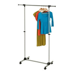 Chrome Adjustable Garment Rack - Honey-Can-Do GAR-03538 Adjustable Garment Rack, Chrome. This sturdy garment rack features steel construction and goes from room to room on smooth rolling casters. The hanging bar adjusts to accommodate short or long garments and is perfect for managing out-of-season clothing, outdoor gear, or items hung to dry in the laundry room. The modern design adds a contemporary feel to any room of the house that needs extra garment storage.