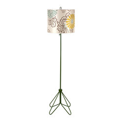 Flight Floor Lamp, Forest Green Base, Kimono on Silk Shade
