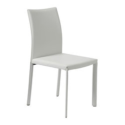 Euro Style - Molly Side Chair in White - Set of 4 - Set of 4. Entire chair covered in regenerated white leather. 21 in. W x 19 in. D x 35 in. H (17.6 lbs.)Grand ideas for small spaces, the smooth and clean geometric shapes give your rooms a trendy, up-to-date look. The furniture design make your rooms stylish and sophisticated, symbolizing your self confidence.