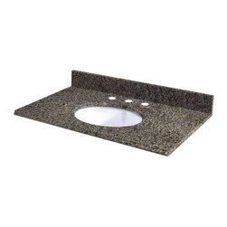Pegasus - Pegasus 31 in. W Granite Vanity Top with White Bowl and 8 in. Faucets Spread - 31 in. W Granite Vanity Top with white bowl and 8 in. faucet spread in Quadro