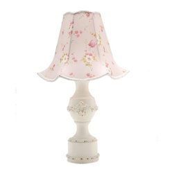 Dusk Lisette Pedestal Lamp - Soft pink floral print. Add this beautiful custom lamp to your cozy cottage.