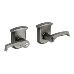 Baldwin Hardware - Tahoe Right-Handed Entry Lever in Distressed Antique Nickel (5265.452.RENT) - The Baldwin Distressed Antique Nickel Right-Handed Tahoe Entry Lever can be locked or unlocked on the outside by key and on the inside by a turn-button. This sturdy lever is designed for use on exterior doors where keyed entry and security is needed.