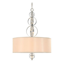 Golden Lighting - Cerchi Chrome Three-Light Pendant with Opal Satin Shade - Cerchi Chrome Three-Light Pendant with Opal Satin Shade Golden Lighting - 1030-3P-CH