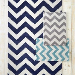 Garnet Hill - Chevron Tufted Wool Rug - Aqua - 2X3 - This spirited rug puts zing into any room or decor. Zigzag chevron stripes continue to be right on trend for bold graphics. Rug is tufted by hand of pure wool. Mothproof. Whipstitched edges. Cotton backing.