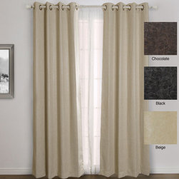 None - Faux Leather Grommet Top 84-inch Insulated Curtain Pair - These sleek faux leather insulated curtains with grommets hang softly like drapes but provide heavy-duty utility. These blackout curtains block 99.9 percent of light and give you protection from heat as well as cold. Machine-washable for easy care.