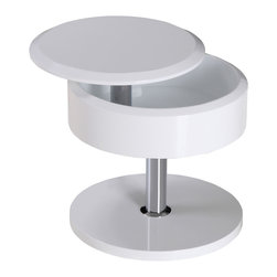 White Line Imports - Tokyo Storage Side Table With Swivel Top - Modern and space-saving, this side table comes with high-gloss white base, swivel top and small storage space. Movable top that opens a hidden storage area provides more space for remotes and different accessories.