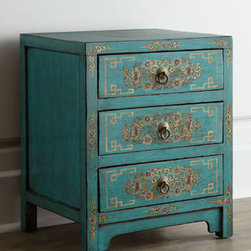 Horchow - Vintage Side Cabinet - Petite vintage side cabinet features ornate scroll motifs on the frame, fretwork and floral medallion decoration on the drawer fronts, and a matching floral medallion on the top. Handcrafted of wood. New lacquer paintings. Three drawers. Sizes will....