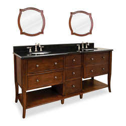 "Cabriole-Legged Vanity Set, Dual Sink - This set consists of 72"" wide solid wood double vanity with cabriole legs, preassembled granite top, and matching beveled glass wood framed mirrors (set of two). Vanity includes five fully working drawers and two open bottom shelves flanking the middle drawer bank for ample storage. All drawers have soft-close slides and dovetailed wood drawer boxes. Vanity comes preassembled with a 2.5cm black granite top with 4"" tall backsplash, two 15"" x 12"" bowls, and cut for two 8"" faucet spreads."
