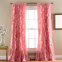 Lush Decor - Belle Pink 84 x 54-Inch Window Panel - - Flowing hand crafted vertical ruffles turn the ordinary into a beautiful window. The fabric is so soft and lays down beautifully from top to bottom  - Set Includes: 1 Panel  - No lining  - 3-Inch Rod Pocket  - Care Instructions: Dry clean Lush Decor - C26144P14-000