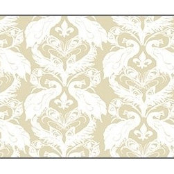 Casart coverings - French Damask, White/Down Wallcoverings, White/Down, Small Roll (37 Sq Ft), Casa - French Peacock Damask is unmistakably French with its fleur de lis!