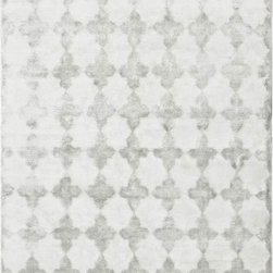 Tanger Kambal Moroccan Trellis Silver Rug - This white and gray trellis rug is an elegant way to tie together a room. I love the texture it adds as well.