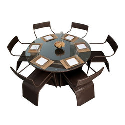 ELB Outdoor - ELB Outdoor Summerbreeze Wicker Dining Set - A modern, stylish compliment to almost any outdoor space, the ELB Outdoor Summerbreeze Wicker 7-Piece Dining Set is sure to please.