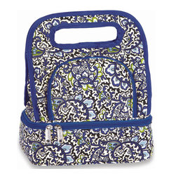 "Picnic Plus - Savoy Lunch Bag, English Paisley - Picnic Plus Savoy Lunch Tote With Storage Container, English Paisley. Color/Design: English Paisley; Fully insulated, foam padded lead safe and vinyl free lining.; Designed with our exclusive April Cornell English Paisley pattern; Insulated lower zippered section includes plastic food storage container; Upper section holds fruit, snacks, and more, with a 3 can capacity; Fashionable and durable 600D polyester exterior and nylon insulated lining Savoy lunch tote. Dimensions: 10""W x 7""D x 12""H"