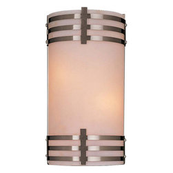 Minka-Lavery - Brushed Nickel Sconce - Striking wall sconce features a Brushed Nickel finish accented by etched opal glass.  Fixture is ADA compliant. Minka-Lavery - 344-84