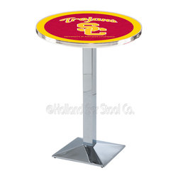 Holland Bar Stool - Holland Bar Stool L217 - Chrome Usc Trojans Pub Table - L217 - Chrome Usc Trojans Pub Table belongs to College Collection by Holland Bar Stool Made for the ultimate sports fan, impress your buddies with this knockout from Holland Bar Stool. This L217 USC Trojans table with square base provides a commercial quality piece to for your Man Cave. You can't find a higher quality logo table on the market. The plating grade steel used to build the frame ensures it will withstand the abuse of the rowdiest of friends for years to come. The structure is triple chrome plated to ensure a rich, sleek, long lasting finish. If you're finishing your bar or game room, do it right with a table from Holland Bar Stool. Pub Table (1)