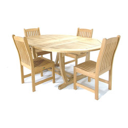 Westminster Teak Furniture - Martinique Teak Wood Furniture Set for 4 - 5pc Martinique Teak Wood Outdoor Dining Set includes 4 Veranda Teak Dining Side Chairs and one Martinique Extension Table.  Martinique Table is Oval shaped while extended and round when collapsed.