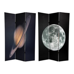 Oriental Furniture - 6 ft. Tall Double Sided Moon/Saturn Room Divider - Bring home the mystery of outer space with this amazing pair of images featuring of two of our solar systems most beloved heavenly bodies. On the front a spectacularly detailed shot of the full moon, with the famous Sea of Tranquility and the Tycho crater clearly visible. On the back is a brilliant image of Saturn, the exotic ringed planet, with stripes of muted color visible on the surface of this Jovian gas giant. These evocative images will add beautiful decorative accents to your classroom, dorm room, clubhouse, entertainment room, living room or bedroom. This three panel screen has different images on each side, as shown.