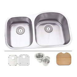 """TCS Home Supplies - 32 Inch Stainless Steel Undermount Double D-Bowl Offset Kitchen Sink - Undermount Kitchen Sink. 16 Gauge Stainless Steel. 40/60 Double Bowl. Sink comes with Matching Protective Grid Set, Deluxe Basket Strainer, Eco-Friendly Bamboo Cutting-board for FREE! Dimensions 31-1/2"""" x 20-3/4"""" x 7""""   9""""."""