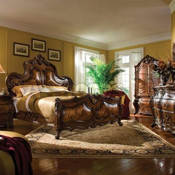 """Michael Amini"" Bedroom Set in Rococo Cognac, Palais Royale Collection -"